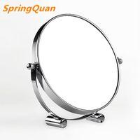 escritorio de caras al por mayor-Espejo de maquillaje de escritorio de alta definición de 7 pulgadas de moda / espejo de baño de metal de 2 caras 3 veces de aumento / regalo de Navidad giratorio 360
