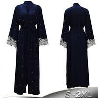 dubai islami elbise toptan satış-Artı Boyutu Robe Malezya Abaya Dubai Kaftan Kadınlar Boncuk Inci Dantel Kimono Hırka Müslüman Başörtüsü Elbise Türk İslam Giyim