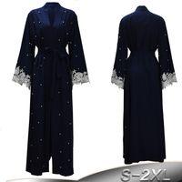 ingrosso più le donne di veste di kimono di dimensioni-Taglie forti tunica Malesia Abaya Dubai Kaftan donne che bordano perline Kimono in pizzo Cardigan Hijab musulmano Abbigliamento islamico turco