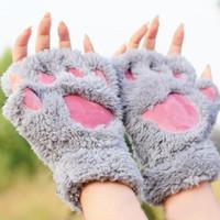 pençe eldiven pençeleri ayı toptan satış-Kawaii Sevimli Kadın Kış Kabarık Ayı / Kedi Peluş Paw / Pençe Eldiven-Yenilik yumuşak havlu bayan yarım kaplı eldiven Noel Günü Hediyesi Y18102210