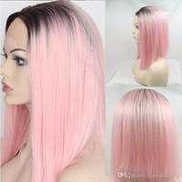 heiße rosa spitzeperücken großhandel-Hot Sexy Kurze Glueless Synthetische Lace Front Perücken Ombre Rosa Kurze Bob Gerade Synthetische Perücken für Schwarze Frauen Hitzebeständige Natürliche Haar