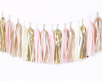 Wholesale pink paper garland - 20 Diy Tassel Garland Kit -Blush Pink &Gold -Champagne ,Ivory ,Nude ,Rose Pink ,Wedding Shower Tissue Paper Tassle Decor Balloon