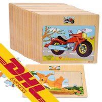 Wholesale DHL Wood Jigsaw Puzzles Animal Patterns Pieces Colorful Cartoon Jigsaw Wooden Toys
