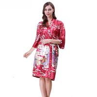 kimono morado femenino al por mayor-Púrpura Mujeres Robe Venta Caliente Verano Kimono Albornoz Bata Mujer Ropa de Dormir Sexy Camisón de la Novedad Imprimir Ropa de dormir S M L XL WP35