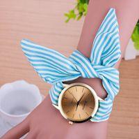 Wholesale geneva watches floral resale online - Casual Watches Women Fashion Stripe Cloth Strap Wrist Watch Women s Clock Geneva Floral Print Bracelet Quartz Watches Relogio