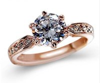 Wholesale solitaire rings online - 1 ct AAA Zircon Engagement Rings for women Rose gold silver plated color Wedding rings female anel Austrian Crystals Jewelry high quanlity