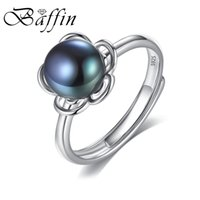 Wholesale Freshwater Black Pearl Set - whole saleBaffin 2018 New Silver Flower Open Ring For Women Party 925 Sterling Silver Jewelry Dark Color Freshwater Pearl Accessories