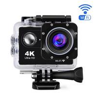 Wholesale Gopro Cameras - 4K WIFI Action Camera HD Sport Gopro Camera Diving 30 Meter Waterproof Cameras 1080P Full HD Cameras Sport DV