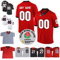Wholesale Rose Numbers - Custom UGA Georgia Bulldogs College Football 10 Jacob Eason 11 Jake Fromm 27 Nick Chubb Personalized Any Name Number Rose Bowl Jerseys