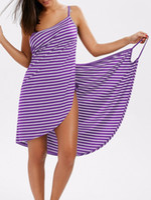 Wholesale striped blue dress resale online – Casual Sexy Backless Women Summer Striped Dress V Neck Spaghetti Strap Women Knee Length Cover Ups Beach Dresses Vestidos