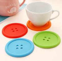 düğmeli bardak altlığı toptan satış-Yuvarlak Silikon Bardak Düğmesi Bardak Bardak Mat Ev İçecek Placemat Sofra Coaster Bardak Pedleri 5 Renkler