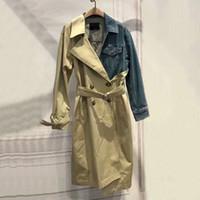 лоскутное пальто оптовых-Лоскутное джинсовая пальто Женский с длинным рукавом повязки хит цвета женская ветровка весна осень
