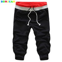 diseño de pantalones holgados al por mayor-BONJEAN Long Trousers Drawstring Design Dmen's Leisure Pantalones Solid Color Summer Men Loose Activity Sweatpants Baggy Jogger