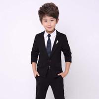 свадебный мальчик оптовых-2018 New Arrival Black Boy Suit 2Pieces(Jakcet+Pant+Tie) Costume Homme Kid Blazer Suit For Wedding Prom Formal Classic Style 726