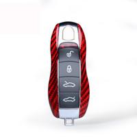fibra de carbono porsche al por mayor-Cubierta de cáscara de la llave del coche de fibra de carbono roja apta para Porsche 911 918