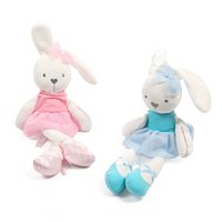 Wholesale 12 month christmas dress - gifts for children 45cm Cute Rabbit with Pink Dress Baby Plush Toy Soft Ballet Bunny Rabbit Doll Kids Comfort Appease Doll Best