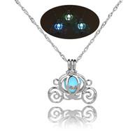 Wholesale pumpkin necklaces - 2018 Retro Hollow Pumpkin Car Glow in the Dark necklace Silver Chain Jewelry luminous Pendants For Mens Punk cute Necklace drop ship 162655