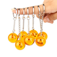 Wholesale anime crystal ball resale online - Cartoon anime Dragon Ball Keychain Child DBZ cosplay Dragonball Z Stars Crystal Ball Keyring Holder Souvenirs Keyring Entertainment