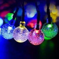 dış mekan yılbaşı dekorasyonları güneş aydınlatma toptan satış-Noel Ağacı LED Işık Güneş Enerjili Su Geçirmez Dize Işık Kapalı / Açık Parti Dekorasyon Kabarcık Şekilli Rüya Peri Işık 6.5 M 30LED