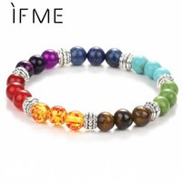 Wholesale men fashion jewel - IF ME Fashion 7 Chakra Bracelet Men Black Lava Healing Balance Beads Reiki Buddha Prayer Natural Stone Yoga Bracelet Women Jewel