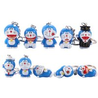 Wholesale anime doraemon online - Anime Figure Cartoon Cute Robot Cat Doraemon As A Cat Figure Doll Ornaments Key Chain Bag Pendant Decoration