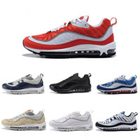 черная мужская обувь оптовых-Nike air max 98 airmax 98 Новые поступления с коробкой Мужская кроссовки Кроссовки для мужчин Спортивная обувь 98 OG Gundam Black Размер US7-11 Пешеходная прогулочная обувь