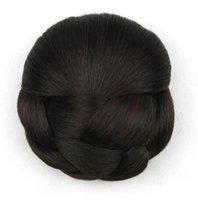 harmanlanmış peruklar toptan satış-Postiş Aksesuarları Peruk Saç Toka Çörek Saç Bun Halka Kendi Saç Braider Ile Karıştırmak için