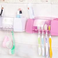boîte à dentifrice achat en gros de-Creative boîte de rangement titulaire brosse à dents forte colle autocollant salle de bains dentifrice titulaire brosse de toilette organisateur