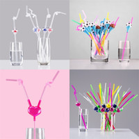 Wholesale kids art parties online - Originality Straws Art Telescopic Adjustable Cartoon Disposable Decorate Plastic Straw For Party Ktv Lover Kids Supply Gift rs UU
