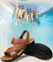 Wholesale First Sewing - 2018 hot with box Summer Beach Shoes Mens Leather Sandals Slippers leather first layer of leather tendon slip tide size US7-US9 ig