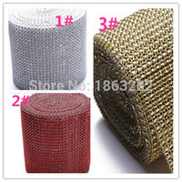 cristal deco diamante al por mayor-1 yarda Gold Silver Diamond Mesh Party Decorations Trim Wrap Roll Sparkle Rhinestone boda deco Crystal Bling Cake Ribbon