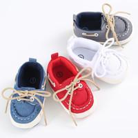 baskets à lacets en toile bébé achat en gros de-Toddler Garçons Filles Premiers Marcheurs Semelle Souple Toile Chaussures À Lacets Sneaker Bébé Chaussures Prewalker Chaussures Nouveau-Né Enfants Chaussures