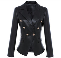 New Style Top Quality Original Design Women's Slim Classic Leather Blazer Jacket Metal Buckles Double-Breasted Black Motorcycle Jacket Coat