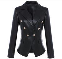 en kaliteli deri ceketler toptan satış-Yeni etiket B Marka En Kaliteli Orijinal Tasarım ile kadın Ince Deri Ceket Metal Tokalar Kruvaze Siyah Motosiklet Ceket