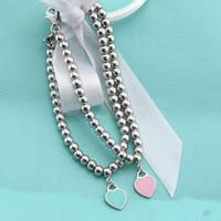 boncuklu mücevher satışı toptan satış-Ht Satış Pand925 Gümüş Mavi Emaye Kalp şeklinde Kolye BILEZIK Yuvarlak Buda Boncuklu Bilezik kadın Süs Takı markalar Hediye