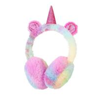 Wholesale infant ear muffs resale online - Winter cute infant children earmuffs unicorn earmuffs plush warm ear protection bag factory direct sales