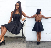 Wholesale cross back cocktail dress - Sexy Criss Cross Back Black Cocktail Dresses 2018 Spaghetti Straps Satin Short Homecoming Party Gowns Backless Short Prom Dresses