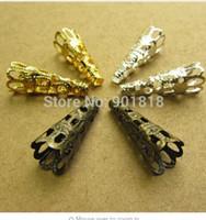 tampas de contas de trompete venda por atacado-Ouro Prata Bronze Trompete Flor Ferro Bead End Caps 200 pçs / lote 8mm Jóias DIY Acessórios Achados F1732