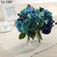 ingrosso fiori artificiali blu rosa-Decorazioni per la casa Artificiale Blue Rose Spring Flowers bouquet Camelia Magnolia Floral Wedding Peonia Disposizione Ortensia Decor