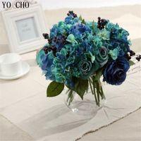 manolya dekor toptan satış-Ev dekorasyon Yapay Mavi Gül Bahar Çiçekleri buket Kamelya Manolya Çiçek Düğün Şakayık Düzenleme Ortanca Dekor