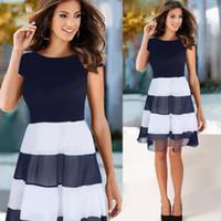 Wholesale Wholesales Midi Dresses - Summer New Fashion Stripe Stitching Short Sleeved Dress With Chiffon Dress Navy Blue Female Dress S-2XL