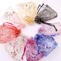 Wholesale Chinese Sachet - 100pcs lot 7X9cm Random Colors Jewelry Bags Packing Drawable Organza Bags Wedding Gift Bags Sachet Organza.