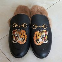 Wholesale Men Winter Loafers - New 2018 Mens Brand Winter Rabbit Fur Slippers Warm Luxury Designer Fashion Genuine Leather Flat Loafers Metal Chain Male Casual Mules Shoes