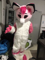 xs köpek halloween kılık toptan satış-Pembe Kurt Maskot Kostüm Husky köpek Karakter Halloween Party Tilki Fantezi Elbise