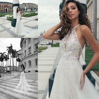 Wholesale wedding dress halter ruffled neckline for sale - Group buy Vintage Boho Beach Backless Wedding Dresses Lace Appliqued Halter Neckline Bridal Gowns Sexy Sweep Train