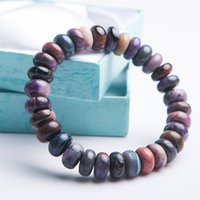 кристалл счет бисера оптовых-Natural Sugilite South African Gems Crystal Bracelets For Women Men  Stretch Fitness Abacus Bead Natural Stone Bracelet