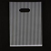 Wholesale black plastic boutique bag resale online - 100pcs x20cm Stripe Print Black Plastic Gift Bag Favor Jewelry Boutique Gift Packaging Plastic Shopping Bags With Handle