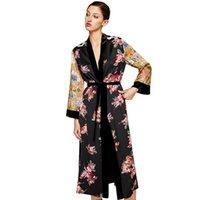 ingrosso camicette gialle per le donne-New Fashion Women Flower Stampa Kimono Shirt Bandage Cardigan Camicetta Top Cover Up Boho Long Beach inondato di accappatoio con Sash Yellow