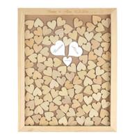 ingrosso libro rustico-Personalizzato Rustic Drop Top Cornice per matrimonio in legno per ospiti con 3 cuori personalizzati a specchio 130 pezzi in legno di scrittura a mano