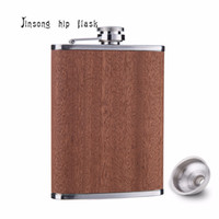 Wholesale 6oz Flask Funnel - 2018 Natural True Wooden Wrapped 8oz Stainless Steel Hip Flask with free funnel